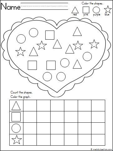 This is a shape recognition and graphing activity for February available free on Madebyteachers.com.  Students practice shape recognition, coloring, and graphing with this adorable heart activity.