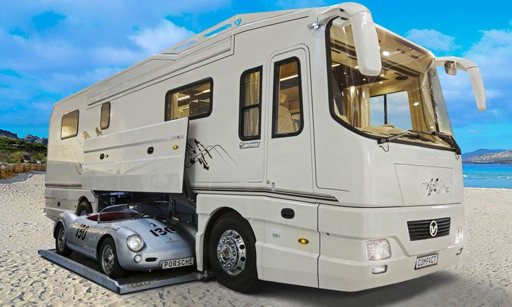 The Car Carrying Luxury Mobile Home Is Everything You Might Want In The World Packed On Four Wheels Recreational Vehicles Luxury Motorhomes Vehicles