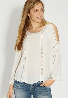 cold-shoulder top with lace