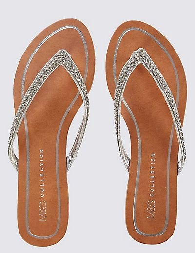 Skinny Diamante Flip-flops
