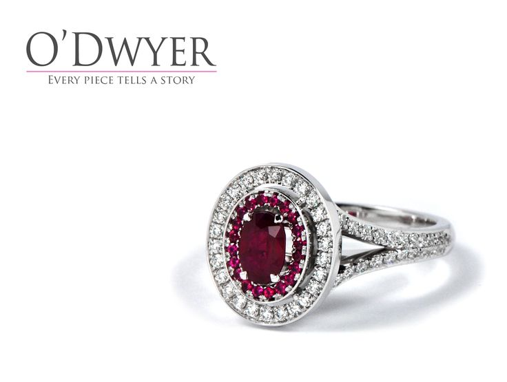 18ct white gold ring with rubies and diamonds.