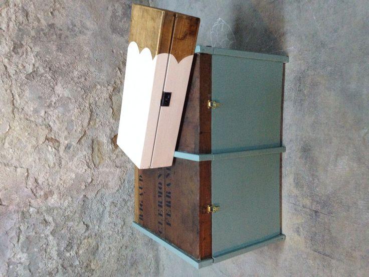 Malle TIO et petite boîte customisée Angus* , atelier de relooking de meubles Vintage - Industriel - Scandinave