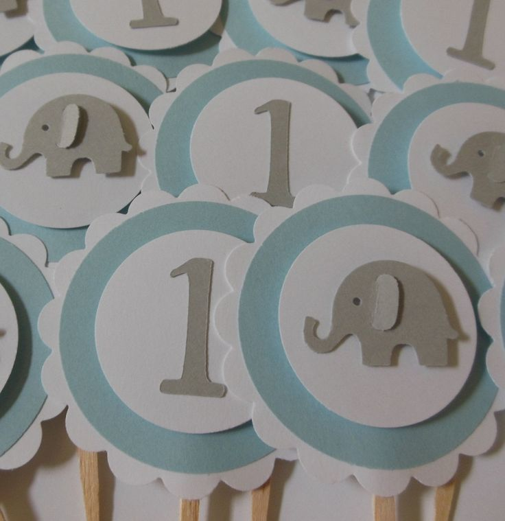 Elephant and 1st Birthday Cupcake Toppers - Blue, Gray and White. $5.25, via Etsy.