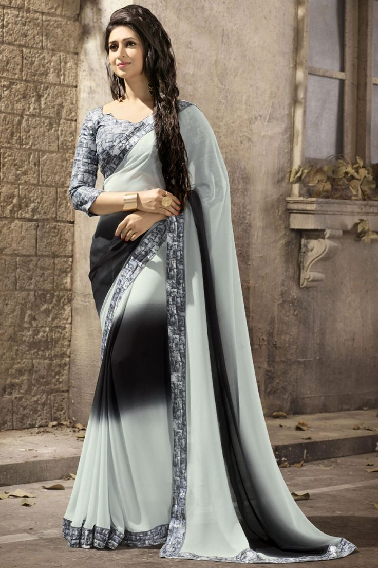 #DivyankaTripathi Black And Grey Printed Border Work #DesignerSaree
