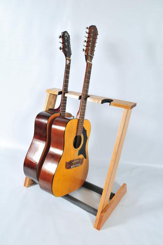 soporte de guitarra acústica de roble rojo 3 espacio