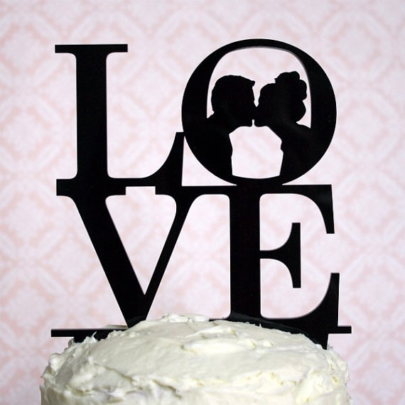 Custom Silhouette Wedding Cake Topper #silhouette, #silhouettes, #wedding