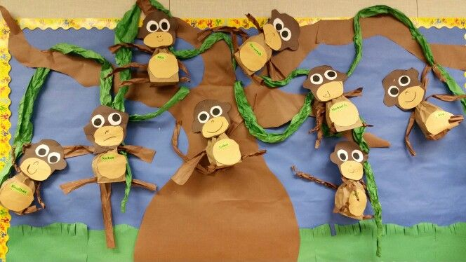 Monkey bulletin board. The children loved making their paper bag monkeys.