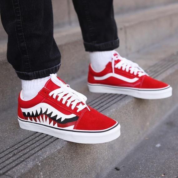Custom Vans Bape Inspired Bape Shark Teeth Bapesta Shoes Etsy Vans Shoes Fashion Custom Vans Custom Vans Shoes