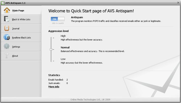 AVS Antispam analyzes and filters incoming messages and sorts out annoying spam.