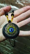 Tienda Online Maxi largo de la vendimia collar de las mujeres Collar Colgante cornalina piedra azul y amarillo de Cobre alrededor del colgante de la cadena de la joyería Étnica | Aliexpress móvil