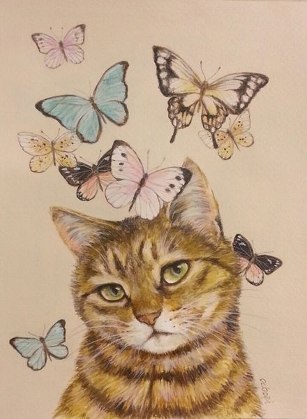 作品名:「蝶に猫 3」 画家名:「おちょぴ」 コメント:「名前はスミスちゃん。でも男の子なの。 お友達のとこのかわいこちゃんにモデルになってもらいました。」 ART-Meter