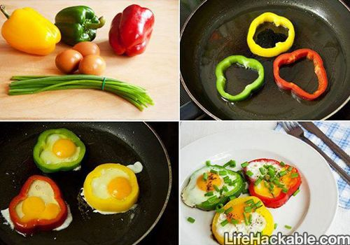 I've always added bell peppers to my eggs but I never thought of doing it this way. ... Such a great idea!