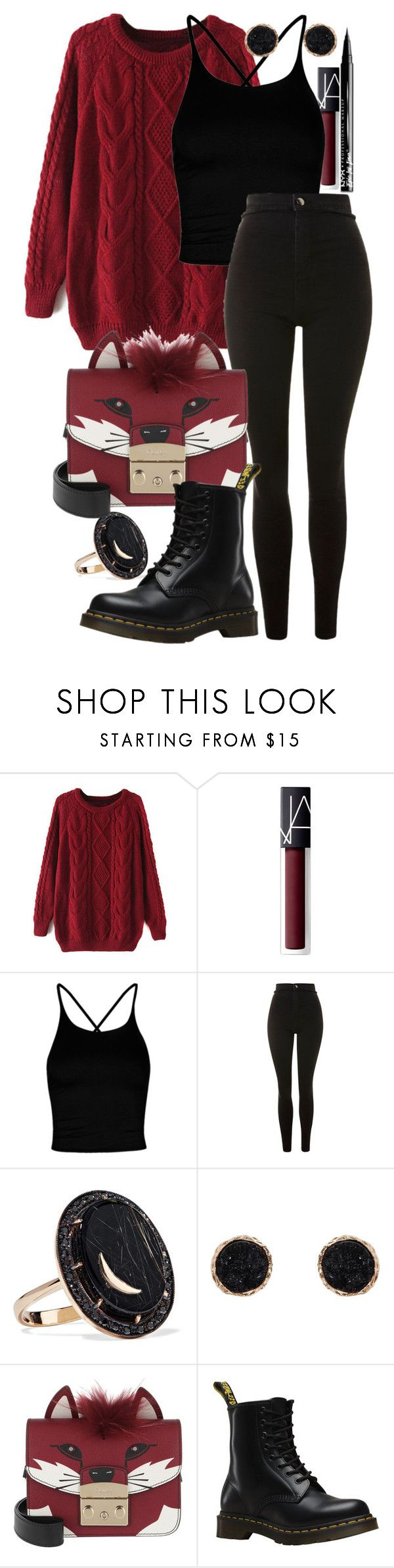 """Hello February"" by catherinetabor ❤ liked on Polyvore featuring WithChic, NARS Cosmetics, Boohoo, Topshop, Andrea Fohrman, Humble Chic, Furla, Dr. Martens and NYX"