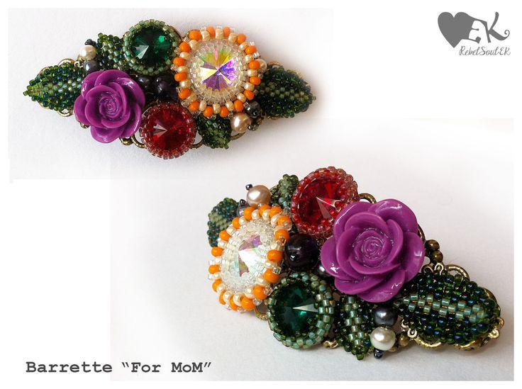 flower garden leaves rivoli crystals eyote beadweave beaded RebelSoulEk brooch