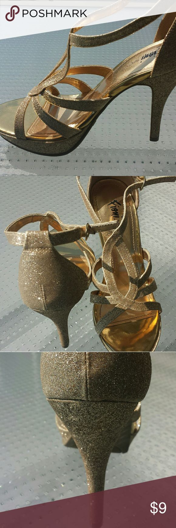 Holiday party 5 inch heels Holiday party sparkle gold 5 inch heels  size 7 Fioni Night Shoes Heels