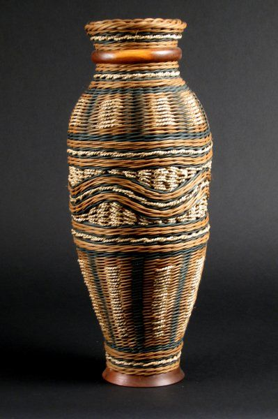 """Teal & Brown Lace: 21"""" tall by 8"""" diameter, $340.00 #handwoven #wovenbasket"""