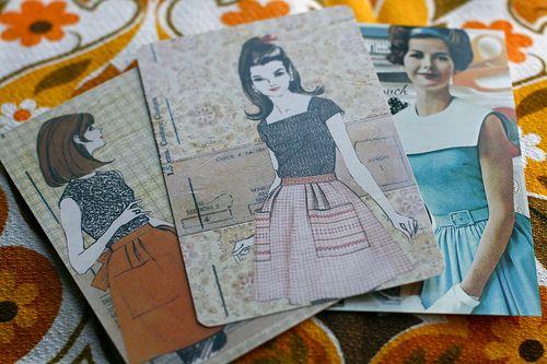 Postais Jane's apron. u comprei um lote sortido de postais da Jane's Apron por causa das ilustrações de moldes de costura vintage.