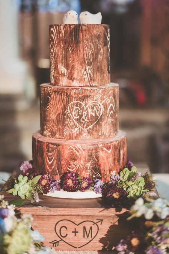 65 Awesome Fall Wedding Cake Ideas Vintage Wedding Cake With Bird Toppers For Rustic Weddings Country Wedding Cakes Wood Wedding Cakes Fall Wedding Cakes