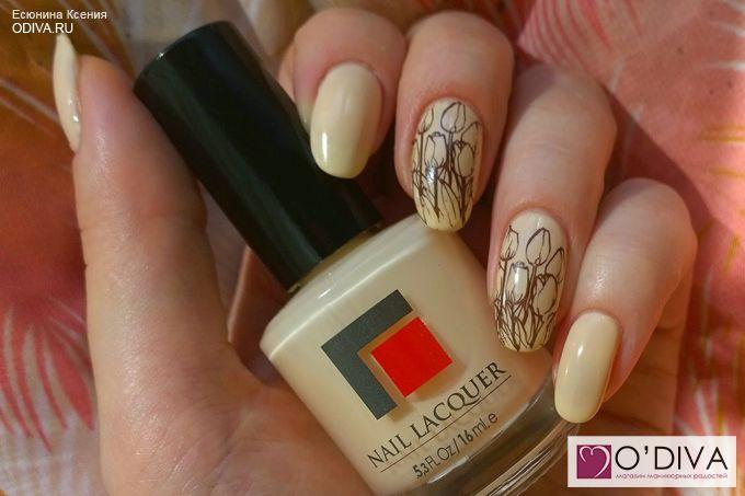 Milv, лак для ногтей, глянцевый (кремовый №39) http://odiva.ru/~ja2BT Konad, лак для стемпинга, цвет S32 (шоколадно-коричневый) http://odiva.ru/~UPi4u #konad #конад #стемпинг #stemping #stamping #рисункинаногтях  #дизайнногтей #ногти