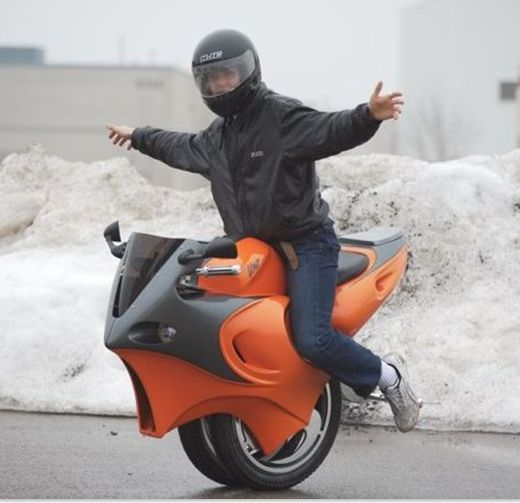 The Uno is a self-balancing motorcycle that uses a pair of gyroscopes to constantly keep its rider upright.