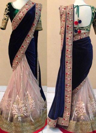 Blue Peach Green Embroidery Work Velvet Net Banglori Silk  Wedding Sarees http://www.angelnx.com/Sarees/Wedding-Sarees