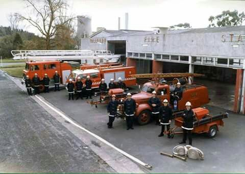 Yallourn Fire Station with fire trucks from different era's