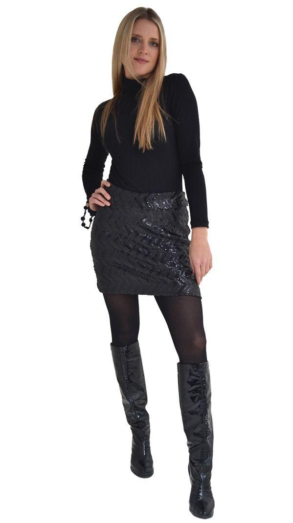 Basic Black : Sequin Stretch Skirt | Philosophy clothing - designer clothing for women on the move