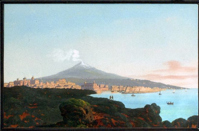 tommaso riolo (1815-1886) (att) - view of catania and the mount etna, gouache on paper.