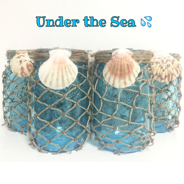 Under the Sea Mason JarsNautical DecorOcean JarsAqua