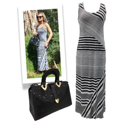 #stripes #springsummer #trend #femmeconnection #maxidress #asymmetrical #black #hndbag #tote #sleeveless