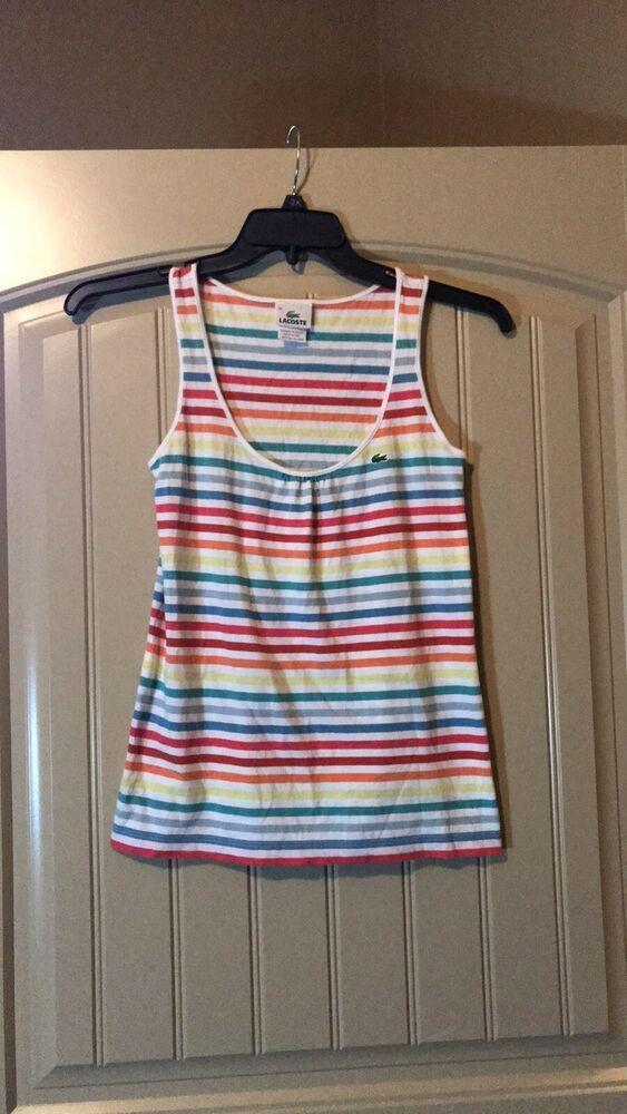ae1e8cf348 Lacoste Striped Ladies tank top Cami cotton size 40 #Lacoste #Basic ...