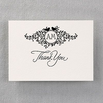 Don't forget the thank you notes!  Birds on Vines - Thank You Card with verse and Envelope