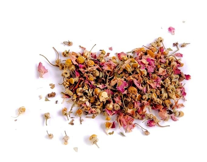 Stress Tea! Breathe, relax and calm your nerves with an intoxicating herbal blend made to cool down even the most hot headed and help ease anxiety. Brew a cup whenever the fever hits or keep iced in the fridge to sip on throughout a tough day.  Ingredients: Lemon balm, rose petals, valerian, chamomile and lemon myrtle.