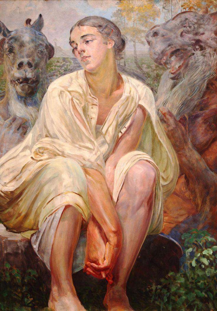 """Jacek Malczewski """"Niewola"""" (Tryptyk: Niewola, Wojna, Miłość) 1917  (Muzeum Okęrgowe, Toruń)"""