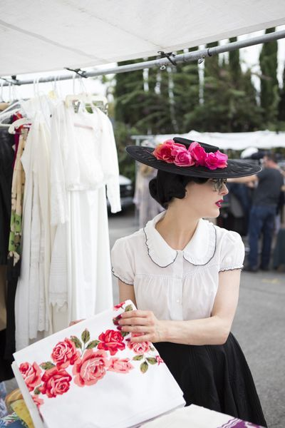 Queen of Burlesque Dita Von Teese Takes Us Antiquing.  Oh my god!  That blouse!  I need it right now.