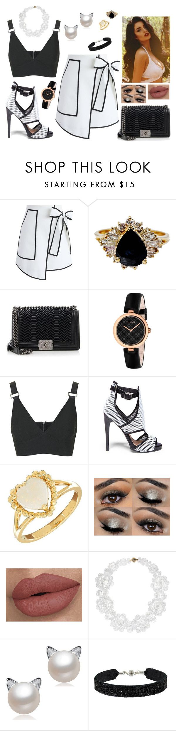 """Black and white (date)"" by anaritaferreira on Polyvore featuring moda, Chicwish, Chanel, Gucci, Topshop, Steve Madden, Lord & Taylor, Simone Rocha e She.Rise"