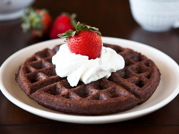 Brownie Batter Waffles Blogger Angie McGowan of  Eclectic Recipes shares a fun breakfast idea for brownie lovers.   eclecticrecipes.com