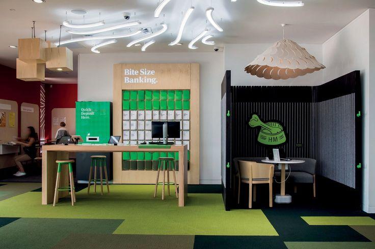 Kiwibank   Architecture Now Edge stools by Tim Webber, Batten chair, Batten Sofa & Pin table by Jamie McLellan, Fantail light by @davidtrubridge   Design by Designworks (NZ)