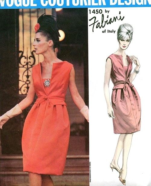 1960s Fabiani Cocktail Evening Dress Pattern RARE Vogue Couturier 1450 Stunning Design Bust 34 Vintage Sewing Pattern Includes Sew In Vogue Label