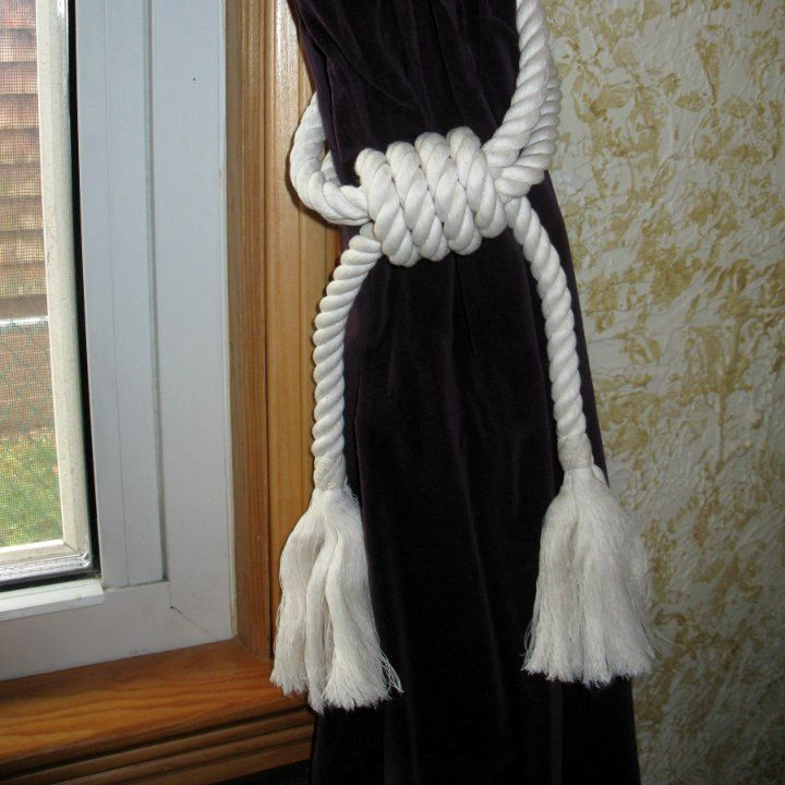 Sailor made curtain tie backs from Mystic Knotwork, American Made in Connecticut out of cotton with an authentic tight twist www.MysticKnotwork.com