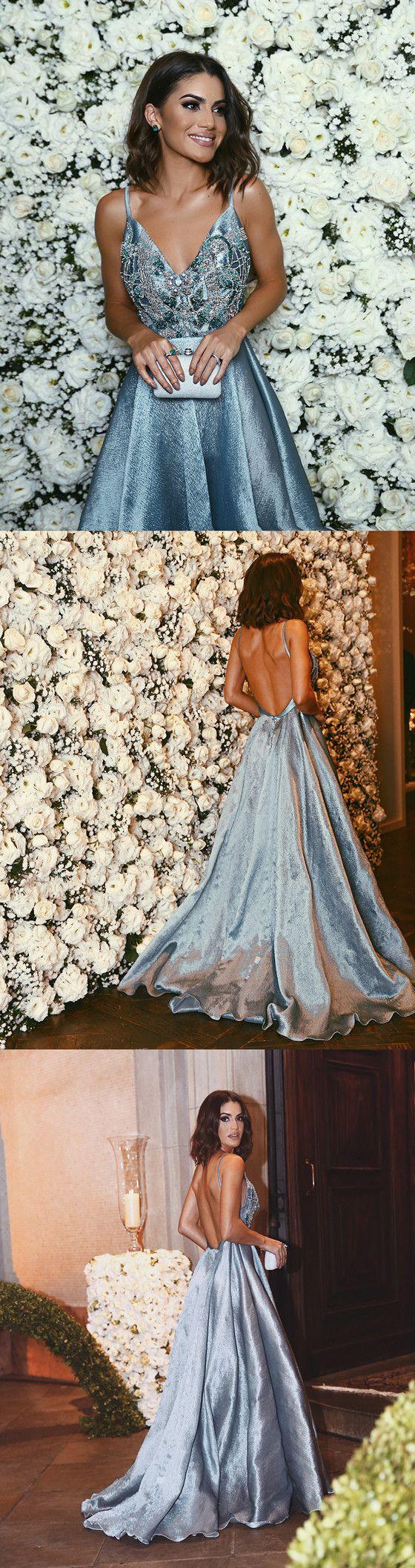 Luxurious A-line Straps Blue Formal Evening Dress,Sexy Backless Beaded Deep V Neckline prom dresses, PD0497