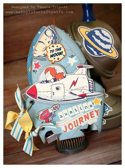 Rocket Age mini album (OA) by HappyLifeCraftyWife @2peasinabucket www.happylifecraftywife.com