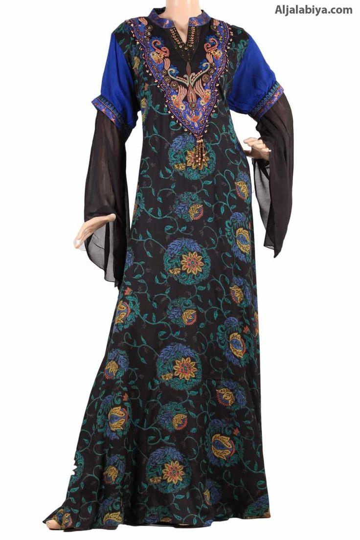 "aljalabiya.com: ""Fall Falcon"" Patterned chiffon and cotton caftan with embroidery (N-13162-1)  $96.00"