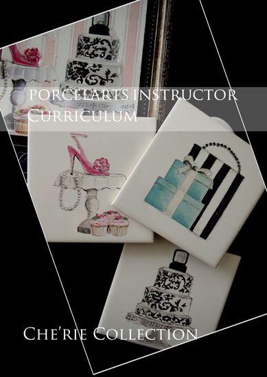 ◆Che'rie Collection・名古屋プリザーブドフラワー&ポーセラーツサロン-ポーセラーツ課題3枚タイル