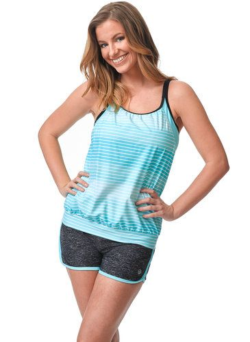 Surf Stripe Blouson Tankini Top from Free Country