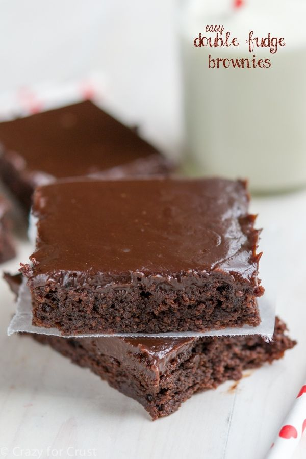 These Easy Double Fudge Brownies are as easy as a box mix and taste so much better. With the fudgy frosting, it's the perfect dessert!