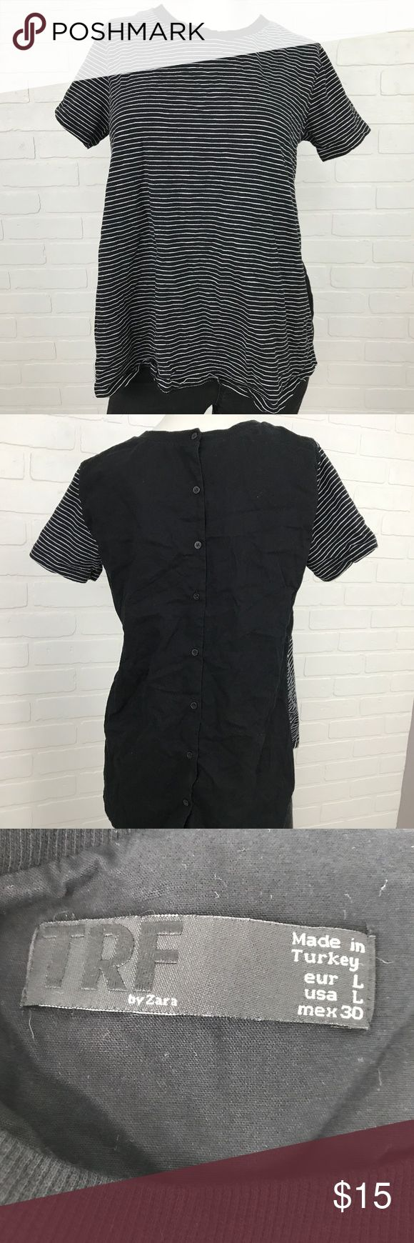 TRF by Zara Ladies Large Black White Stripes BRAND                    :TRF by Zara				 SIZE	                 :Ladies Large	 STYLE	                 :Shirt COLOR	                 :Black - White		 Condition               :Gently Worn	 Inventory                :MQ114 B5 TRF by Zara Tops Tees - Short Sleeve