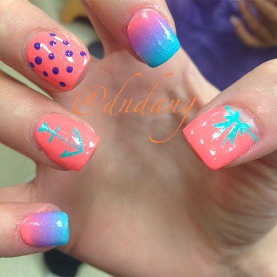20 best summer nail designs love the multi color ones for Acrylic nail decoration