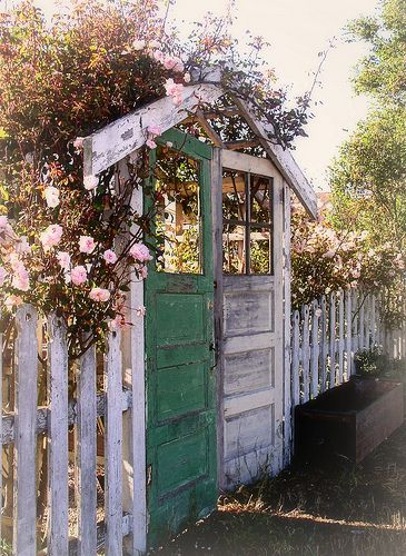 "How bout old doors used as ""garden gates""? LOVE! How about for a gate in front of my house?"