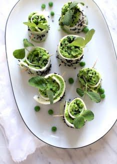 Daikon Roll-Ups w/ Miso Mint Pea Filling